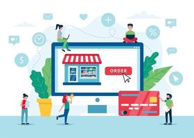 Ordering groceries online concept vector