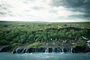 Aerial view of small waterfalls in Iceland