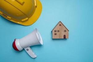 Solid blue background with construction props