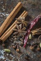 Spices and herbs on textured background