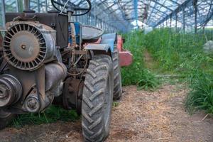 Pequeño tractor viejo en el campo en una granja orgánica