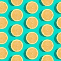 Lemon citrus fruits seamless pattern on green turquoise minimal background
