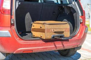 Luggage in the back of a car
