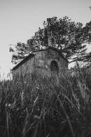 Stone church in a field