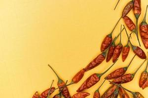 Red dried chili peppers on yellow background photo