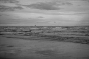 Grayscale ocean shoreline photo
