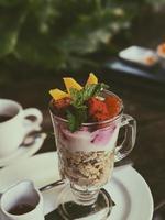 Strawberry dessert on table  photo