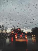 Close up of rain on windshield