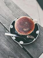 Hot beverage in decorative ceramic cup