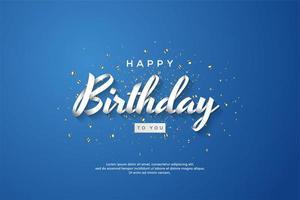 Feliz cumpleaños texto de cinta sobre fondo azul.
