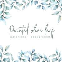 Watercolor Painted Olive Leaf Background vector