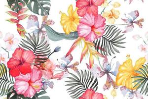 Pattern of Hibiscus Flowers Painted with Watercolor