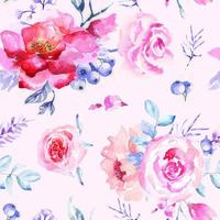 Rose Seamless Pattern with Watercolor vector