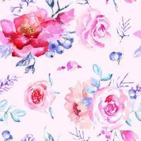 rosa de patrones sin fisuras con acuarela