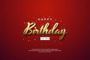 Fondo de cumpleaños con escritura de cinta dorada