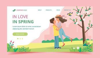 pareja amorosa en la plantilla de página de aterrizaje de primavera