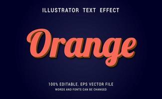 efeito de texto de script laranja vetor