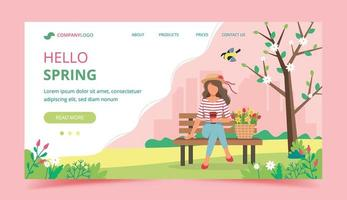 Springtime Landing Page Template  vector