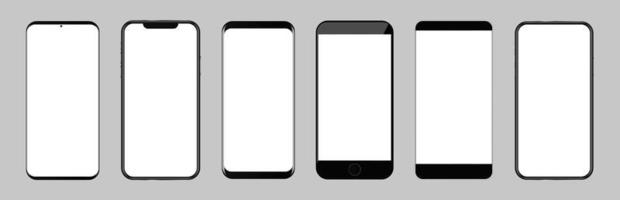 Bundle of smartphones with different frames, borders or bezels.