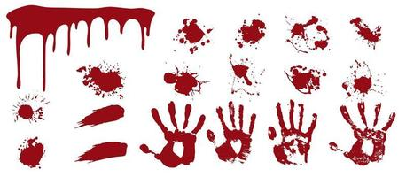Bloody spray and handprints.