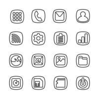 estilo de arte de línea de iconos de teléfono inteligente básico