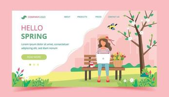Hello Spring Landing Page Concept vector