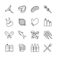 Barbecue Party Line Icon Set vector