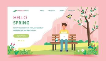 Hello Spring Landing Page vector