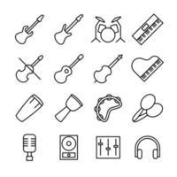 conjunto de iconos lineales para la industria musical vector