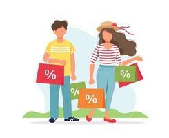 hombre y mujer con diseño de bolsas de compras