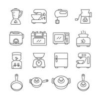Kitchen Equipment Line Icon Set vector