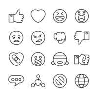 conjunto de iconos de línea de interacción de medios sociales relacionados