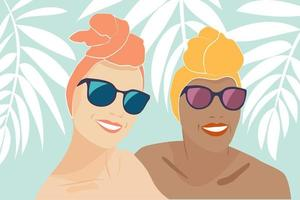 Summer Selfie Happy Smiling Girlfriends with Turbans vector