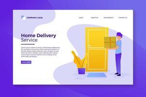 página de inicio del servicio de entrega a domicilio vector