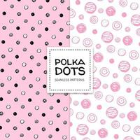 2 pink polka dot patterns vector