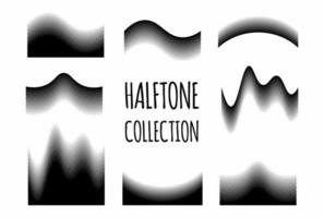 Wave halftone pattern set vector