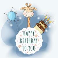 Tarjeta de feliz cumpleaños con linda jirafa, pastel de chocolate y globo