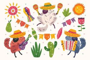 Set of chinchillas in sombreros playing music vector
