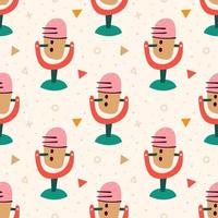Colorful Microphone Pattern vector