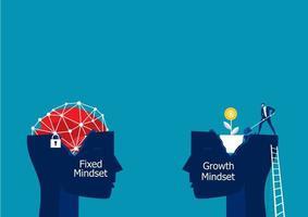 Fixed mindset head and growth mindset head vector