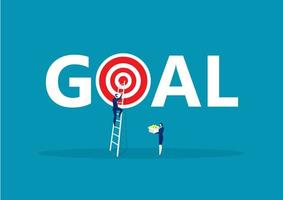 Busuiness manclimbing ladder to goal vector
