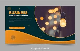 Professional banner design with green and orange curves vector