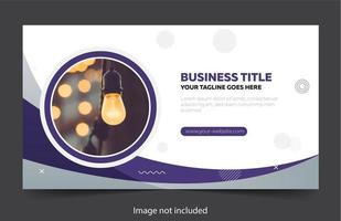 Purple and white business banner with curves and circles vector