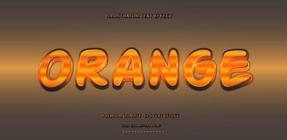 Metallic Orange Text Style vector