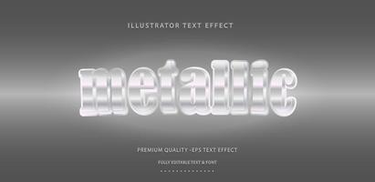 Silver Shiny Metallic Text Style vector