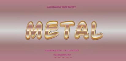 estilo de texto metálico rosa y dorado brillante vector