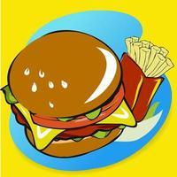 hamburguesa y papas fritas dibujadas a mano