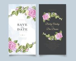 White and gray floral border save the date