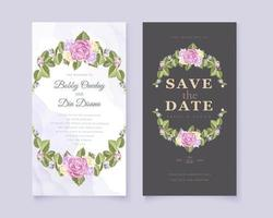 Floral wreath save the date set