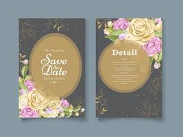 Gray and gold watercolor rose save the date vector